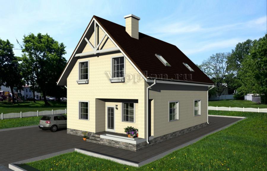 Дом с мансардой, подвалом, гаражом, террасой и балконом vg97.